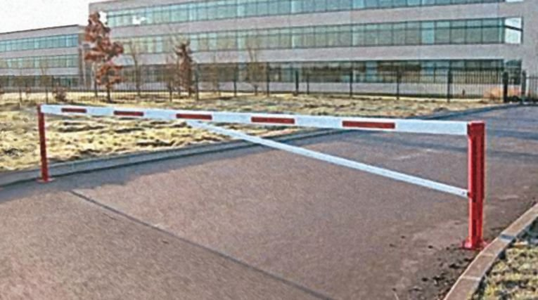 Barrières de parking pivotantes avec réflecteurs rouges