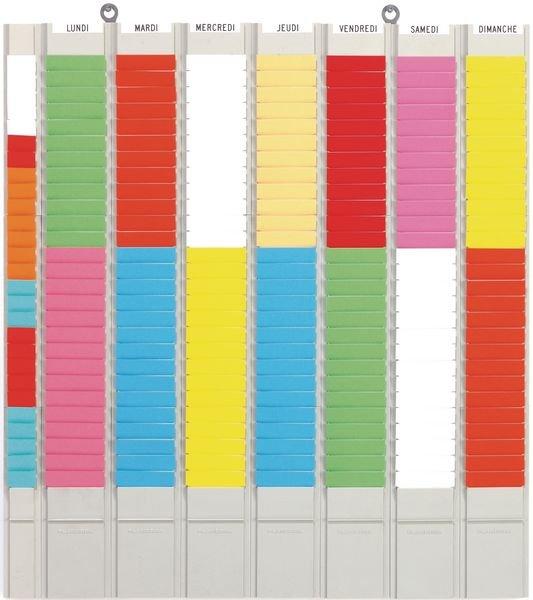 Planning hebdomadaire à fiches en T, 7 colonnes et 1 colonne porte-références