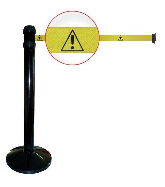 """Poteaux noirs à sangle étirable avec signalisation """"Danger général"""""""