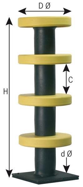 Poteau flexible avec bagues de protection en élastomère