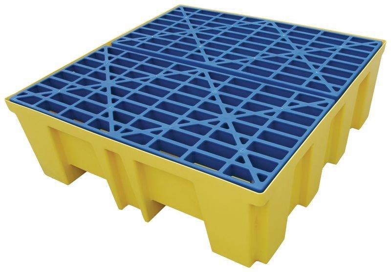 Palette de rétention en polyéthylène pour 2 à 4 fûts