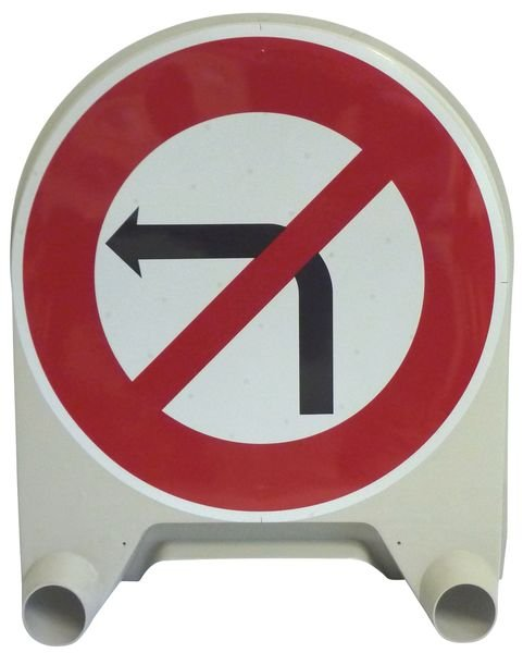 """Panneau de signalisation temporaire en polypropylène """"Interdiction de tourner à gauche à la prochaine intersection"""""""