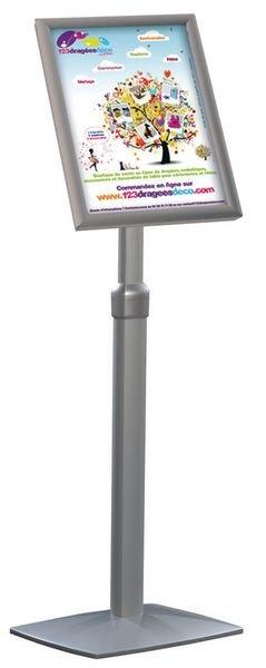 Présentoir de documents sur pied avec cadre clic en aluminium