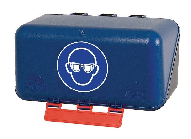 """Boîtes de rangement standards pour EPI avec pictogramme """"Lunettes de protection obligatoires"""""""
