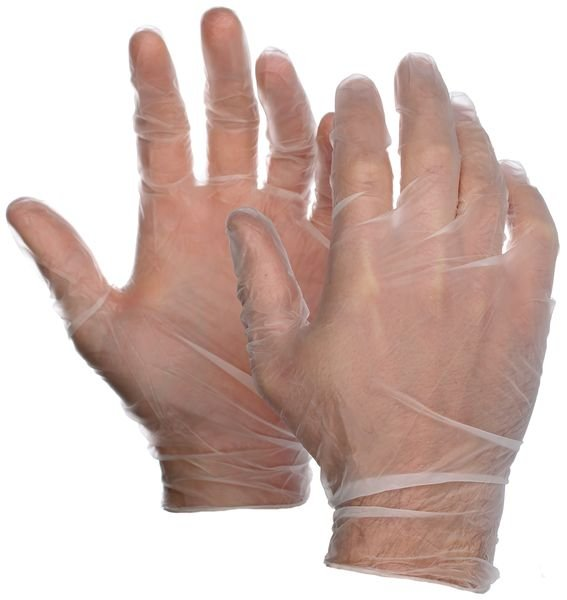 Gants jetables en vinyle transparent