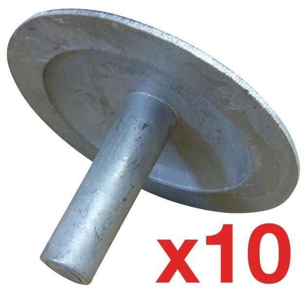 Lot de 10 clous de voirie en métal
