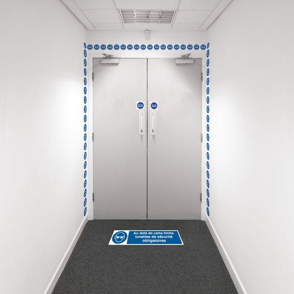 Kit barrière visuelle avec ruban adhésif mural et marquage au sol - Lunettes de sécurité obligatoires - M004
