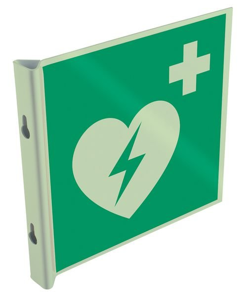 Pictogrammes en drapeau et tridimensionnels photoluminescents EN ISO 7010 Défibrillateur automatique externe pour le cœur