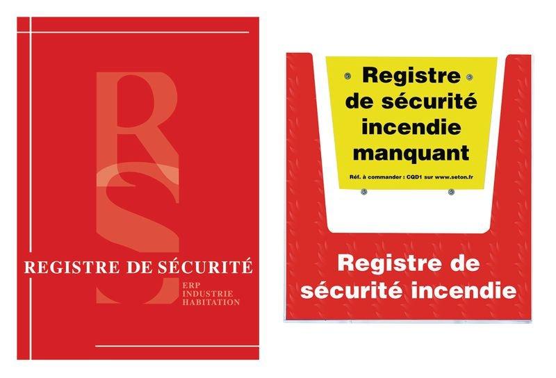 Kit registre sécurité incendie avec porte-documents mural