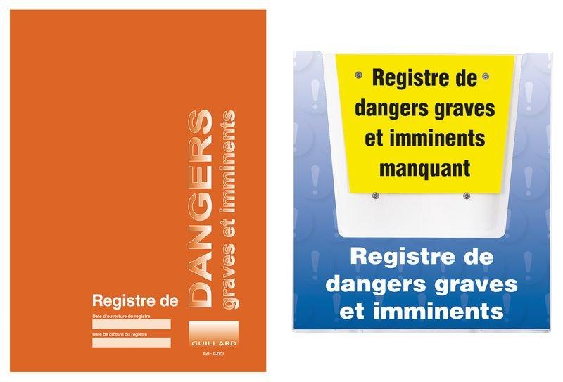 Kit registre des dangers graves et imminents avec porte-documents mural