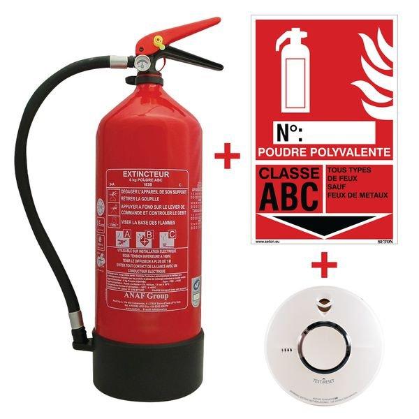 Kit extincteur avec détecteur de fumée et signalisation