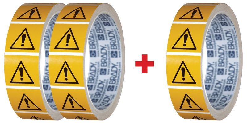 Lot de 3 rouleaux de pictogrammmes ISO 7010 Danger général - W001 (2+1 gratuit)
