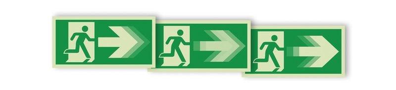 """Autocollant rigide animé SETON MOTION® """"Homme qui court à droite, flèche vers la droite"""""""