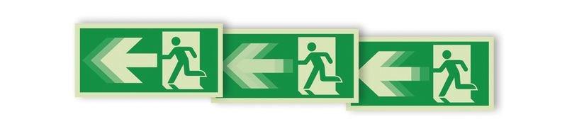 """Autocollant rigide animé SETON MOTION® """"Homme qui court à gauche, flèche vers la gauche"""""""