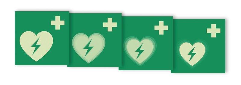 """Autocollant rigide animé SETON MOTION® """"Défibrillateur automatique externe pour le cœur"""""""