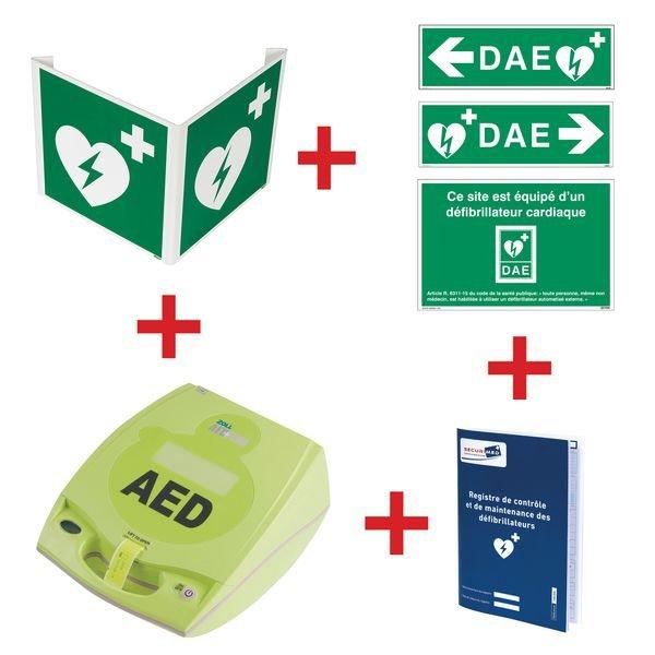 Kit défibrillateur ZOLL AED+ semi-automatique avec signalisation murale