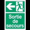 """Panneaux d'évacuation A4 et A3 """"Homme qui court, flèche à gauche - Sortie de secours"""""""