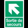 """Panneaux d'évacuation A4 et A3 """"Flèche diagonale en haut à gauche"""""""