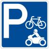 """Panneau de signalisation """"Parking vélos motos"""" rétro-réfléchissant"""