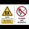 Panneaux ATEX Catégorie 3 avec symboles - Atmosphère explosive - Flammes nues interdites