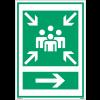 """Panneaux d'évacuation A3 et A4 """"Point de rassemblement après évacuation"""" avec flèche à droite"""