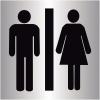 """Plaques signalétiques colorées adhésives """"Toilettes homme et femme"""""""