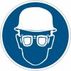"""Planches d'autocollants d'obligation """"Casque et lunettes de sécurité obligatoires"""""""