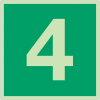 """Panneaux d'évacuation et de secours """"Niveau, étage 4"""""""