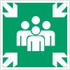 """Mini-pictogrammes d'évacuation """"Point de rassemblement après évacuation"""" en rouleau"""