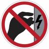 """Mini-pictogrammes d'interdiction """"Danger électrique, ne pas toucher, boîtier sous tension"""" en rouleau"""