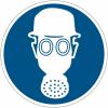 """Mini-pictogrammes d'obligation """"Casque de protection et protection des voies respiratoires obligatoires"""" en rouleau"""