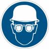"""Mini-pictogrammes d'obligation """"Casque et lunettes de sécurité obligatoires"""" en rouleau"""