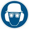 """Mini-pictogrammes d'obligation """"Casque de protection, lunettes de protection et serre-tête antibruit obligatoires"""" en rouleau"""
