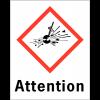 """Etiquettes d'identification des produits dangereux """"Attention - Matières explosives"""""""