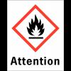 """Etiquettes d'identification des produits dangereux """"Attention - Matières solides inflammables"""""""