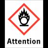 """Etiquettes d'identification des produits dangereux """"Attention - Matières comburantes"""""""