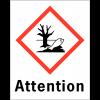 """Etiquettes d'identification des produits dangereux """"Attention - Danger pour le milieu aquatique"""""""