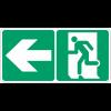 """Marquage d'évacuation """"Homme qui court, flèche à gauche"""" pour bandes de guidage"""