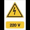 """Panneau adhésif de voltage A5 """"Danger électricité - 220 V"""""""