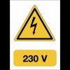 """Panneau adhésif de voltage A5 """"Danger électricité - 230 V"""""""