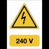"""Panneau adhésif de voltage A5 """"Danger électricité - 240 V"""""""