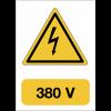 """Panneau adhésif de voltage A5 """"Danger électricité - 380 V"""""""