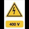 """Panneau adhésif de voltage A5 """"Danger électricité - 400 V"""""""