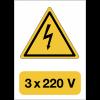 """Panneau adhésif de voltage A5 """"Danger électricité - 3x220 V"""""""