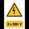 """Panneau adhésif de voltage A5 """"Danger électricité - 3x380 V"""""""