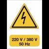 """Panneau adhésif de voltage A5 """"Danger électricité - 220 V / 380 V / 50 Hz"""""""
