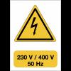"""Panneau adhésif de voltage A5 """"Danger électricité - 230 V / 400 V / 50 Hz"""""""