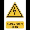 """Panneau adhésif de voltage A5 """"Danger électricité - 3x230 V / 400 V / 50 Hz"""""""