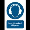 Panneau EN ISO 7010:2012 en aluminium avec message - Serre-tête antibruit obligatoire - M003