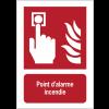 Panneau EN ISO 7010:2012 en aluminium avec message - Point d'alarme incendie - F005